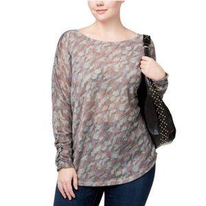 NWT INC Macy's Camo Metallic Thin Sweater Plus 0X